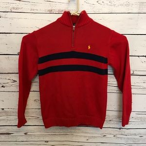Vintage Polo 1/4 zip sweater red blue